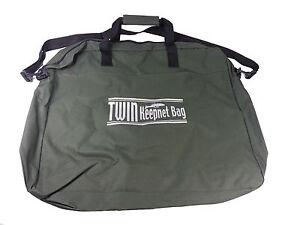 Dinsmores Zipped Twin Keepnet bag + Outer Net Pocket, Shoulder & Hand Strap GRN