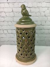 Woven Bird Ceramic Hurricane Flameless Candle Valerie Parr Hill Home Decor
