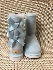 UGG SHORT BAILEY BOW II ETHER BLUE WATER-RESISTANT SUEDE BOOTS SIZE US 5 WOMENS