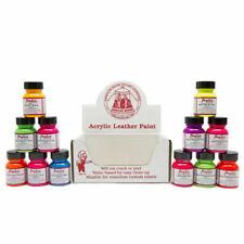 Angelus NEON Acrylic Leather Vinyl Paint Starter Kit / Set  12 1 oz Bottles