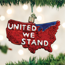 United We Stand USA Patriotic Glass Ornament Old World Christmas NEW IN BOX