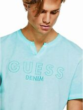 GUESS T-Shirt Men's Embroidered Logo Pigment Dye Slit Crew Tee Top S Blue NWT