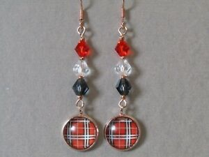 Tartan Cabochon & Sparkly Swarovski Elements Drop Rose Gold Plated Earrings Nice