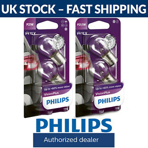 Philips Vision Plus P21W or P21/5W Stop Light / Tail Light Bulbs (Twin Pack)