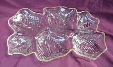 Large Vintage Jeannette 6 part relish o'derve tray venetian gold beaded edge