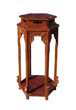 Chinese Huali Rosewood Hexagon Pedestal Plant Stand Table cs1221