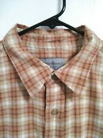 Eddie Bauer Mens Size Large Tan Red Plaid Long Sleeve Button Up Shirt
