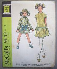 1960's Girl's drop waist dress w/ petticoat pattern 9642  size 6