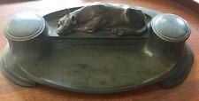 Handsome Antique Inkwell Cast Metal Great Dane Dog Desk Set