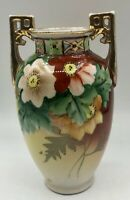 Antique Nippon Square Handled Hand Painted Antique  Vase - 6""