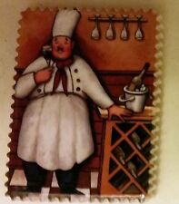 """1 RARE Fat Chef Magnet (2.5"""" x 3""""), Chef holding a wine glass, FREE SHIPPING"""