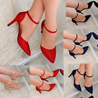 Ladies Pointed Toe High Heels Ankle Strap Closed Toe Evening Shoes Rhinestones