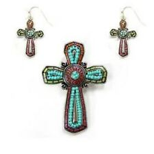 Mosaic Theme Cross Pendant with Matching Dangling Earrings