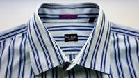 PAUL SMITH LONDON Long Sleeve French Cuff Striped Dress Shirt Made in Italy 16½