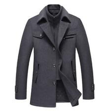Men's Stand collar Long sleeve Trench Coat Woolen Jacket Outwear Quilted New L