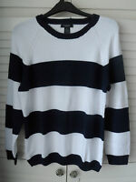 NEW WOMAN'S LADIES100%COTTON MEDIUM KNIT STRIPED NAVY BLUE WHITE JUMPER PULLOVER