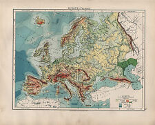 1904 ANTIQUE MAP ~ EUROPE PHYSICAL ~ LAND HEIGHTS SEA DEPTHS SPAIN BRITISH ISLES