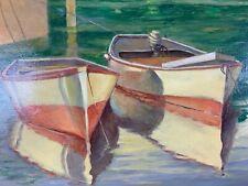 Original Framed B.Dixon Evander Row Boats - On Canvas e354