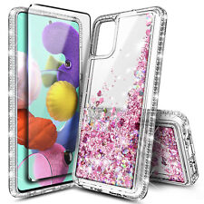 For Samsung Galaxy A51 Case Liquid Glitter Bling Soft TPU Cover + Tempered Glass