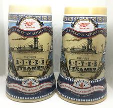 2 MILLER High Life Beer Stein Mug Set • American Achievements River Steamer 1807