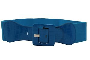 Women Hip High Waist Fashion Belt Blue Elastic Waisted Square Buckle Size M L XL