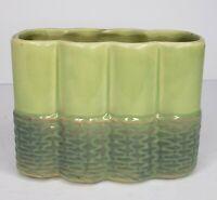 Vintage Retro McCoy Pottery Green Basket Weave Wicker Base Design Planter Vase