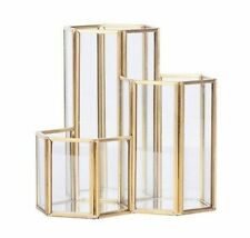 Glass Copper Hexagon Composite Pen Holder Makeup Brush Glass Box Desk Organizer