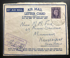 1941 South Africa MEF Army Egypt Censored Air Letter Cover To Krugersdorp