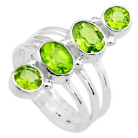5.30cts Natural Green Peridot 925 Sterling Silver Ring Jewelry Size 8 P77701