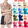Fashion Cashmere Silk Solid Long Pashmina Shawl Wrap Women Girls Scarf Warm Soft