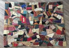 Farmhouse Chic Embroidery Victorian Crazy Quilt Antique VTG Patchwork 81x61