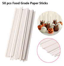 "50Pcs 6"" Long Cake Pop Lollipop Sticks Lollies Crafts FDA Paper Dowels, Lolly"