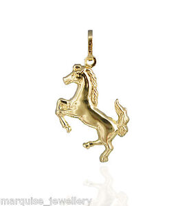 375 9ct Gold Leaping - Prancing Horse Charm Pendant.