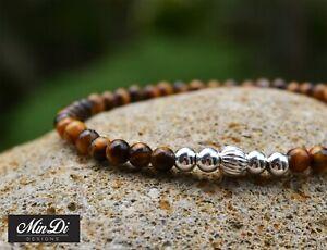 Stretch bracelet with sterling silver & tiger's eye.