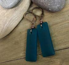 Min Favorit Teal Cultured Sea Glass Rectangle Drop & Copper Artisan Earrings