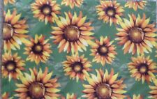 """Placemat Set 4 Autumn Sunflowers Fabric 12"""" X 18"""" New 100% Polyester"""