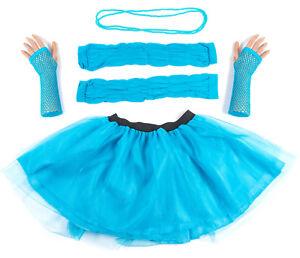 Blue Neon UV Tutu Set Skirt Gloves Leg Warmers Necklace Womens 80s Fancy Dress