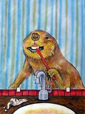 beaver teeth anmals 11x14 art Print gift new impressionism modern