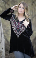 Johnny Was Landon Black Velvet Embroidered Blouse Tunic Top Womens Size Medium