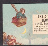 Victorian Witch Broom 1800's Philadelphia Jewelry Store Diamond Gold Trade Card