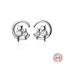Katzen Ohrstecker Minimalistische Ohrringe 925 Silber Katzenkörper sind Zirkonia