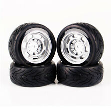 4pcs 1/10 Scale HSP HPI RC On-Road Racing Car Rubber Tyres & Wheel 6mm Offset