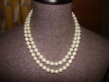 "Double strands 8-9mm Australian white south sea pearl necklace 18""19"""