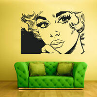 Wall Decal Vinyl Sticker Decals Girl Face Poster Lips Hairs Kiss Cartoon Z1754