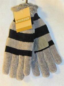 New Women's ISOTONER Gray & Black Striped Knit Gloves w/ Faux Fur Lining, One Sz
