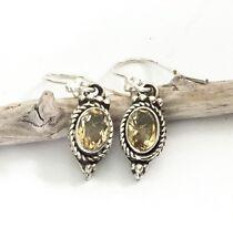 Sterling Silver Oval Yellow Citrine Gemstone November Birthstone Dangle Earrings