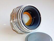 RARE SILVER HELIOS-44 2/58mm Russian SLR lens (Pentax, Praktica, Zenit) M39 EXC