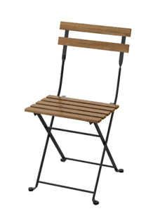 TARNO Chair, outdoor, foldable black/light brown stained NEW FREE SHIPPING