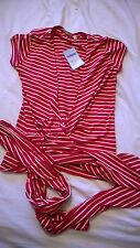 BNWT Jojo Maman Bebe extra small (6) maternity wrap top red white striped