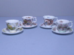 SET 4 SEASONS ROYAL DOULTON BRAMBLY HEDGE MINIATURE CUPS AND SAUCERS 1st QUALITY